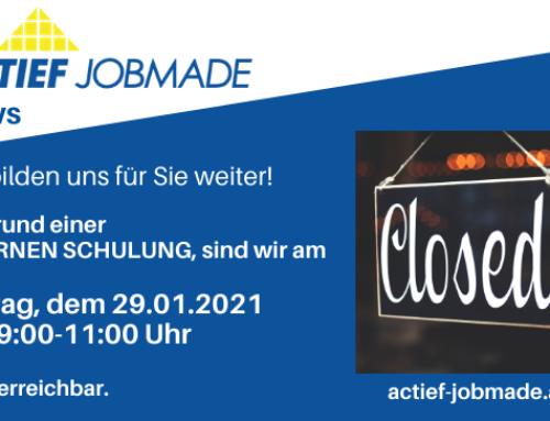 Achtung: Freitag, 29.01.2021 von 9:00-11:00 Uhr geschlossen